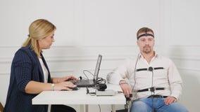 Mens op Polygraph Test stock video