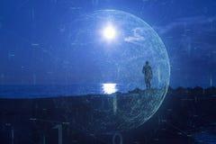 Mens op strand met cyberspace netwerkachtergrond royalty-vrije stock afbeelding