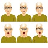 Mens op zes verschillende geplaatste gezichtsuitdrukkingen Stock Afbeelding
