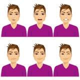 Mens op zes verschillende geplaatste gezichtsuitdrukkingen Stock Foto