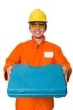 Mens in oranje die overtrekken op wit wordt geïsoleerd Stock Afbeelding