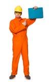 Mens in oranje die overtrekken op wit wordt geïsoleerd Royalty-vrije Stock Afbeelding