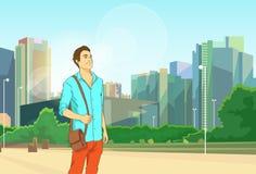 Mens over Moderne Stadscityscape Achtergrond royalty-vrije illustratie
