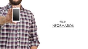 Mens in overhemd met het mobiele patroon van telefoonsmartphone royalty-vrije stock afbeelding