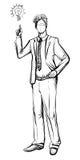 Mens in pak, hand getrokken vector Ideeconcept met de mens en lightbulb Royalty-vrije Stock Afbeelding