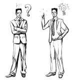 Mens in pak, hand getrokken vector Ideeconcept met de mens en lightbulb Stock Foto