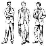Mens in pak, vectorschets Stock Foto