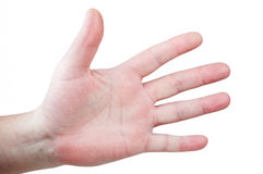 Mens palm with fingers spread Stock Photo