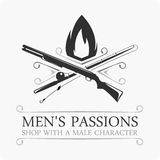 Mens passions logo. Vector emblem hunting and fishing. logo template Royalty Free Stock Image
