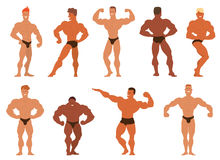 Mens physics bodybuilders vector illustration. Stock Photos