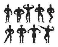 Mens physics bodybuilders vector illustration. Royalty Free Stock Image