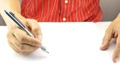 Mens planningszaken op Witboek Royalty-vrije Stock Afbeelding