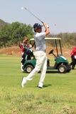 Mens pro golfer Jean van de Velde approach shot on November 2015 Royalty Free Stock Photo