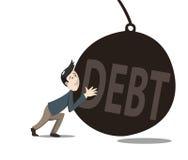 Mens pushint de schuld Stock Fotografie