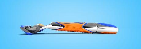 Mens razor 3d render on blue background. Mens razor 3d render on blue Royalty Free Stock Photography