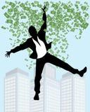 Mens in regen van geld stock illustratie