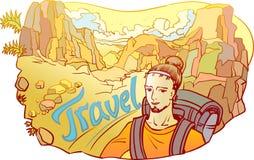 Mens - reiziger in de rotsachtige woestijn Stock Afbeelding