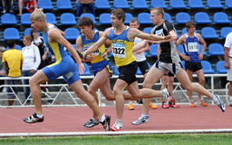 Mens relay race. On the Ukrainian Track & Field Championships on June 02, 2012 in Yalta, Ukraine Royalty Free Stock Photography