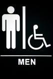 Mens Restroom Sign on Black Royalty Free Stock Images