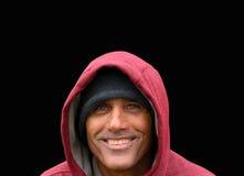 Mens in Rode Hoodie Stock Foto