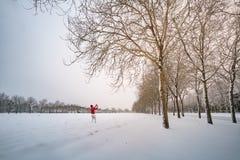 Mens in rood die beeld van sneeuwgebied en bomen nemen Stock Foto