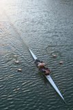 Mens Rowing. Two men training,slow shutter speed to generate feeling of movment royalty free stock photos