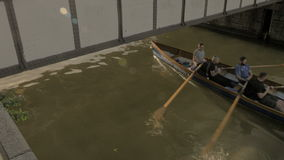 Mens Rowing boat going under Princes st, Bristol stock video footage