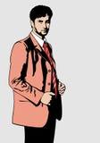 Mens in roze Royalty-vrije Stock Afbeeldingen