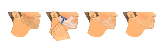 Mens shaving before and after. Illustration of male face before and after shaving balm and shaving foam Royalty Free Stock Image