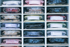 Mens Shirt. A variety of men's shirts neatly in the store cupboard Royalty Free Stock Photo