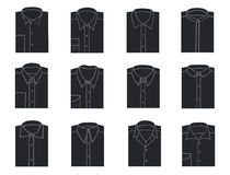 Mens shirts. Silhouettes of shirts with different collars Stock Photos