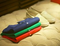 Mens shirts and shoes Stock Images