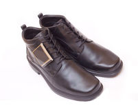 Mens shoes. Pair of elegant black men's shoes islated stock photography
