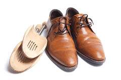Mens shoes with stretchers Stock Image