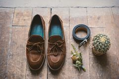Mens shoes with wedding accessories and cactus. On wooden floor Stock Photos