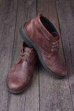 Mens shoes  on woden background Royalty Free Stock Photo