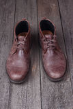 Mens shoes  on woden background Royalty Free Stock Photography