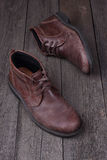 Mens shoes  on woden background Royalty Free Stock Image