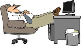 Mens In slaap bij Zijn Bureau vector illustratie