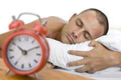 Mens In slaap met Klok Royalty-vrije Stock Fotografie