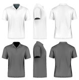 Mens slim-fitting short vector illustration. Mens slim-fitting short sleeve polo shirt. Front. Back and side views. White black variants. Vector illustration Stock Photo