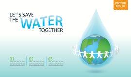 Mens sparen water, sparen aarde samen Bescherm het milieu Stock Foto