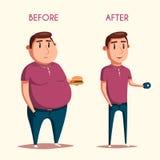 Mens before and after sporten De vectorillustratie van het beeldverhaal Royalty-vrije Stock Fotografie