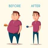 Mens before and after sporten De vectorillustratie van het beeldverhaal Stock Afbeeldingen