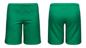Mens sports green shorts. Isolated on white background Stock Photo