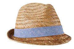 Mens straw hat isolated on white background Stock Images