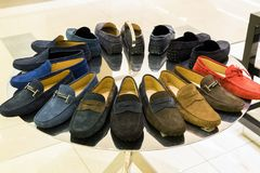 Mens suede summer shoes in store. A mens suede summer shoes in the store Stock Images