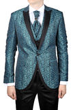 Mens suit with floristic pattern, wedding attire, isolated on wh Stock Photography