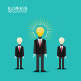 Mens in a suit with a light head lamps. Business investors design. Mens in suit with light bulb head.The man is surrounded are filled with ideas and money, and Stock Photography