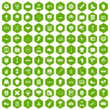100 mens team icons hexagon green. 100 mens team icons set in green hexagon isolated vector illustration Stock Photography